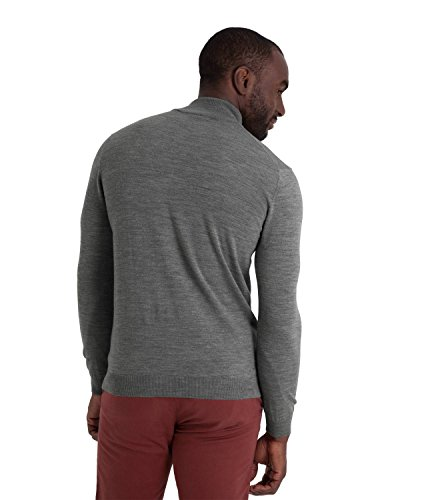 WoolOvers Pull à col zippé - Homme - 100 % mérinos Grey Marl