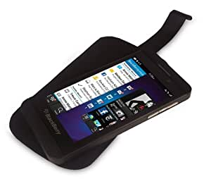 iZKA® Soft Slip Pouch Cover Case For Blackberry Z10 (With Pull Tab for Secure Quick Release) - Black