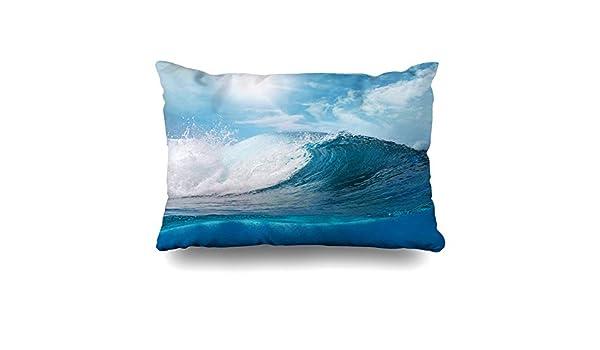 Ahawoso Throw Pillow Cover Wave Blue