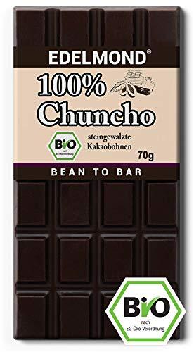 Edelmond Bio 100% Chuncho Criollo. 2 Tage gewalzte Kakaobohnen Schokolade. Vegan und Fair-Trade. Low Cadmium (1 Tafel) - Plantagen Dunkle Schokolade