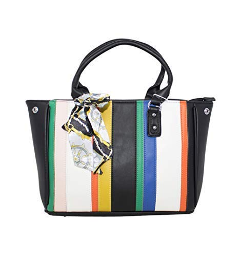 Haute für Diva Damen Multifarben Gestreifter Schal Detail Tote Handtasche - Schwarz, Large -