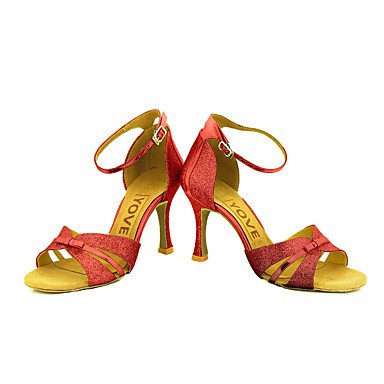 Scarpe da ballo-Personalizzabile-Da donna-Balli latino-americani / Salsa-Tacco su misura-Brillantini-Nero / Blu / Rosso / Argento / Dorato Gold