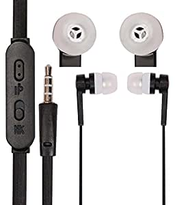3.5mm In Ear Bud Handsfree Headset Earphones With Mic Compatible For Micromax Canvas Unite 4 Pro Q465 -Black