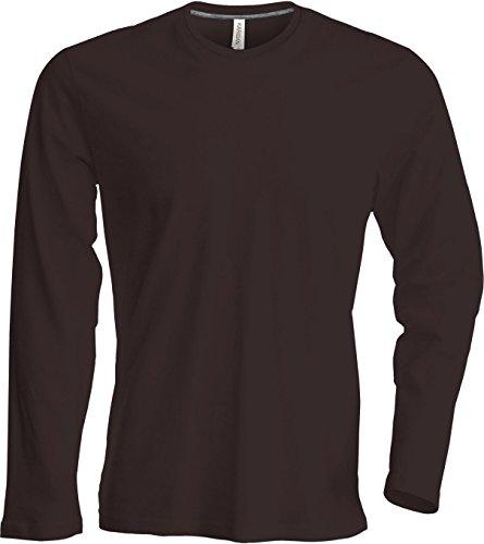 Herren T-Shirt langarm von notrash2003 (L, Chocolate) (Braun Baumwolle Shirt)