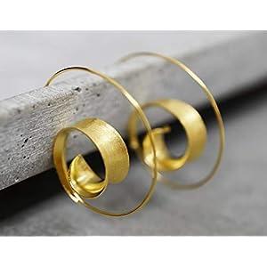 925 vergoldete Spiral Ohrringe BRUNEI Boheme-Stil