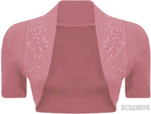 nouvelles dames perles manches courtes haussement paillettes détail boléro culture cardigan top Baby Pink