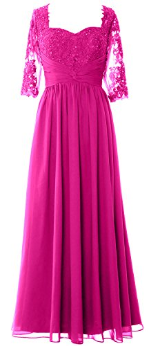 MACloth Illusion Half Sleeve Mother of Bride Dress Lace Formal Evening Gown Fuchsia
