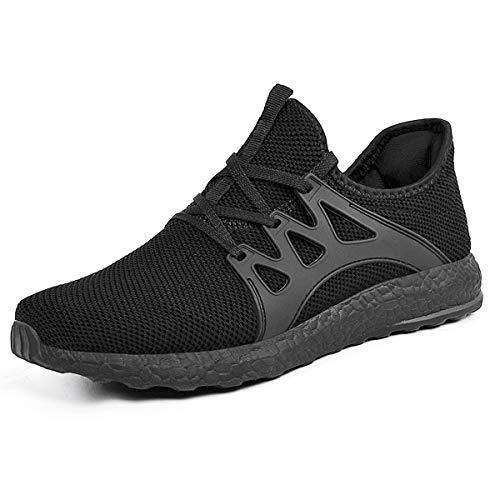 ZOCAVIA Herren Damen Sneaker Running Laufschuhe Sportschuhe rutschfeste Sneaker, Schwarz1, 45 EU