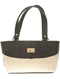 Aliado Faux Leather Solid Black & White Zipper Closure Tote Bag For Women For Women