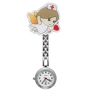 JSDDE Uhren,Krankenschwester FOB Uhr Pflegeruhr Pulsuhr Ketteuhr Schwesternuhr Quarz Taschenuhr, Cartoon Mädchen Krankenschwester #2