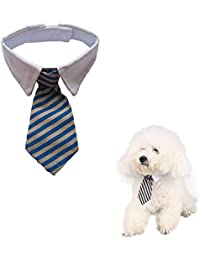 Namsan - Corbata de sarga y algodón para perros pequeños, gatos, cachorros azul Blue/Khaki small