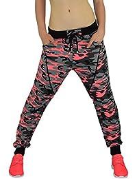 Gorilla-Star starke Damen Camouflage-Sporthose Jogginghose Freizeithose mit tollen Details in Neon-Grün Neon-Pink und Blau Größe M-XXL (36-42)