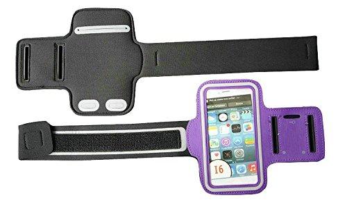 iPhone Sportarmband Ultra weicher Verstellbarer perfekt für Laufen, Radfahren, Wandern, Kanu fahren, Walking, Reiten und andere Sportarten, auch Hochwertige mit Schlüssel Slots (viele Farbe)–von ezz Violett - violett