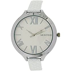 Montine Analogue Ladies White Dial & White Leather Strap Buckle Watch MOW4561LSW