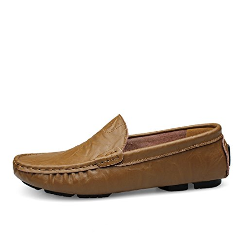 Minitoo Boys Mens Breathable Popular Moccasins Casual Penny Loafers Khaki