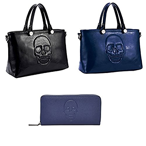 Mechaly, Borsa a zainetto donna Black Satchel, Blue Satchel & Blue Wallet
