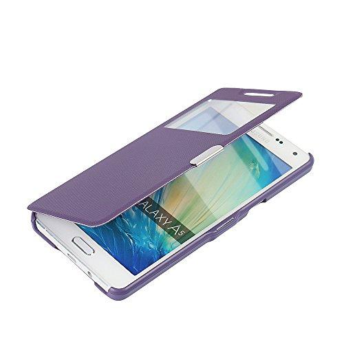 Funda Samsung Galaxy A5 (2015), MTRONX Cover Carcasa Case Caso Ventana Vista Ultra Folio Flip Twill Tela Asargada PU Cuero Delgado Piel con Cierre Magnetico para Samsung Galaxy A5 (2015) - Morado(MG1-PP)