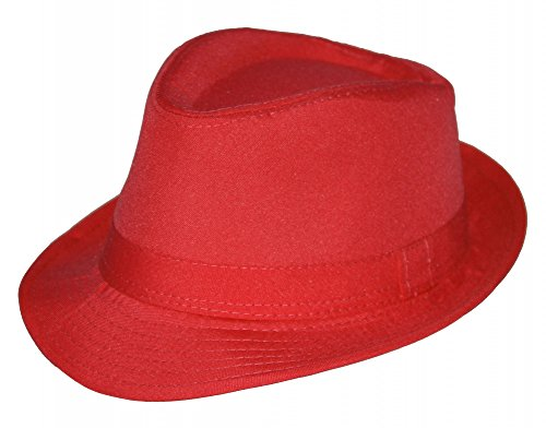 Foxxeo 35265 | Sommer Fedora Hut Panama Strand Gangster Party, Farbe: rot
