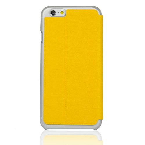 """iProtect Apple iPhone 6 (4,7"""") 6s Hülle im Bookstyle mit Magnetverschluss und Standfunktion Kunstleder Wallet Case schwarz Klapphülle Gelb"""