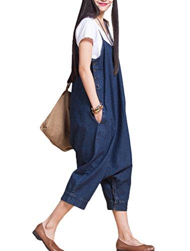 MatchLife Femmes Casual Jeans Salopette Pantalon Bleu