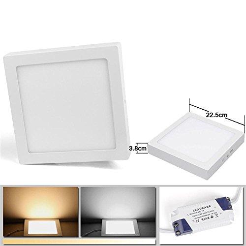 BAODE TOP 6/12/18/24W LED Panel Leuchte Dimmbar Quadrat Eckig Deckenlampe Aufputz direkte Installation (Warmweiß, 18W/Dimmbar)
