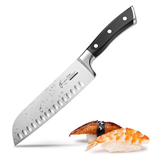 *Santokumesser Küchenmesser Japanisches Kochmesser mit Kullenschliff, extrem Scharf Rostfrei Edelstahl Universalmesser 17 cm mit ergonomisch geformter Griff*