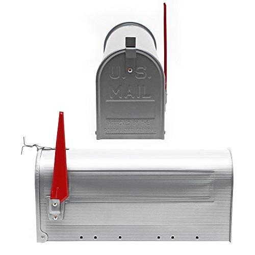US Mailbox Briefkasten Amerikanisches Design silber mit passendem Standfuß - 4