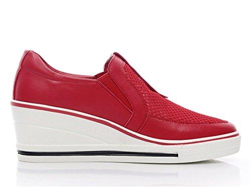 Wealsex Damen Freizeit Keilabsatz Wedges Schuhe mit Plateau Bequem Sneakers Low-Top Sportschuhe Rot