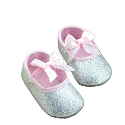 Sannysis Glitzer-Baby-Schuh-Turnschuh-Anti-Rutsch-weiche Sohle Kleinkind (11/0 ~ 6 Monate, Silber) (Elf Kleinkind Schuhe)