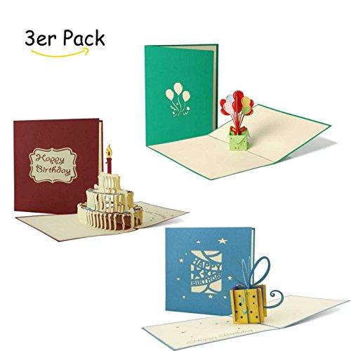 Geburtstagskarten 3er Set, Gutscheine, Glückwunsch Karten, 3D Pop-Up-Karten, Grußkarten, Geschenkkarten, Geschenk-Box, Torte mit Kerzen, Geburtstagsballons, Set 4 -
