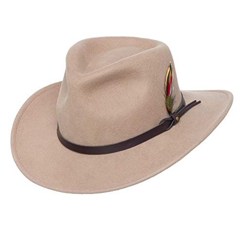 Import Von Mode-accessoires (Silver Canyon Boot and Clothing Company Outback Wolle Cowboy-Hut | Montana Knautschbar West Filz für Herren X-groß Kitt)