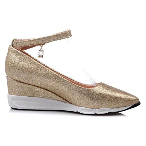 TAOFFEN Femmes Chaussures Mode Compense Talons Moyen Pointu Escarpins De Boucle Or