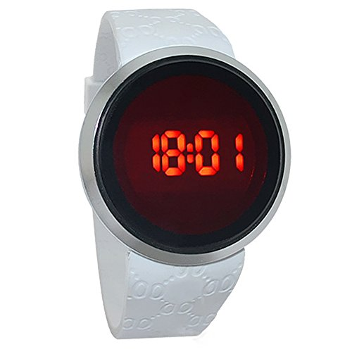 CreaTion® Moda impermeabile Mens Watch LED touch screen Data silicone del Black Watch (bianco)