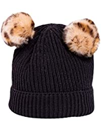 Gorro de Punto BBsmile Color sólido Sombrero Niños pequeños Niña niño bebe  Invierno cálido Bola de 2b6b7aa4dc6