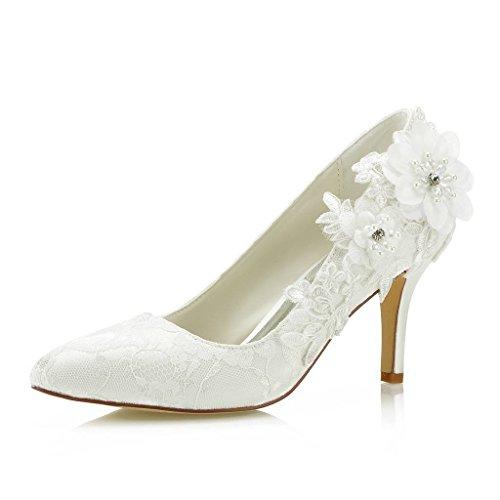 Mrs Right 1622 Frauen Brautschuhe Closed Toe Stöckelabsatz Spitze Satin Pumps Satin Blume Nachahmung Perlen Hochzeit Schuhe Farbe Elfenbein,Größe 42 EU
