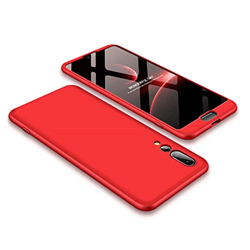 Price comparison product image for Huawei P20 Pro Case Red,  PC Hard 360 Degrees Full Body Protective Cover Ultra-thin Anti-Scratch Bumper Matte Phone Case 3 in 1 DESCHE-Red
