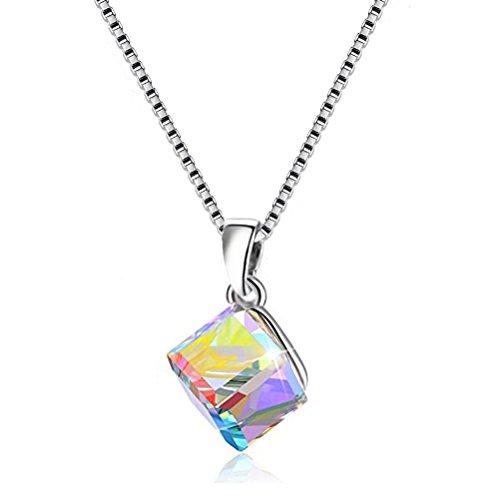 Uloveido Graceful 925 Sterling Silber Box Kette Halskette Swarovski-Kristalle CZ Cube Form Anhänger für Frauen Freundin (Box Verpackung) Y418-N - Crystal Cube-anhänger