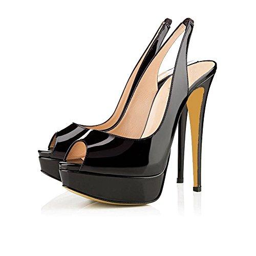 uBeauty Damen Stilettos Slingback Fußgelenkriemchen Sandalen mit Plateau Peep Toe Multicolor Schuhe Schwarz