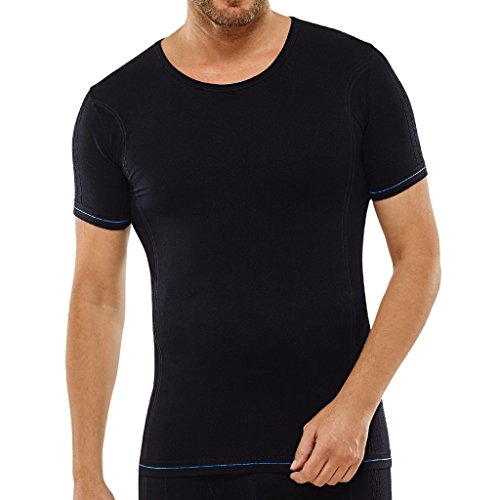 Schiesser Herren Seamless Active Men - Sport T-Shirt/Unterhemd kurzarm - 152926 - Funktionswäsche (Schwarz, 8/XXL)