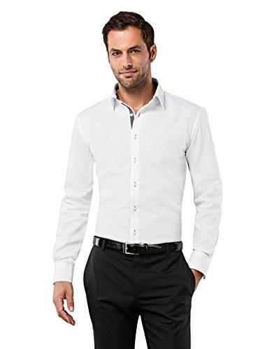 VB - Camisa para hombre con contrastes, entallada, no admite planchado blanco white/anthracite 40 cm