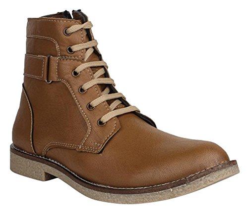 Digni Chaussures de conduite Casual Bottines Biker Faux cuir Chaussures Marron