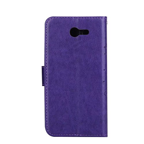 Abnehmbare 2 in 1 Crazy Horse Texture PU Ledertasche, Fairy Girl Embossed Pattern Flip Stand Case Tasche mit Lanyard & Card Cash Slots für Samsung Galaxy J320 ( Color : Rosegold ) Purple