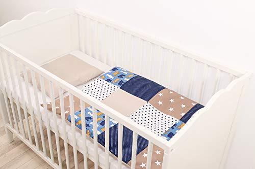 ULLENBOOM ® Babybettwäsche Sand Bär (2 tlg. Baby Bettset: Kissenbezug 35x40 cm & Bettdeckenbezug 80x80 cm, Motiv: Sterne, Patchwork Design)