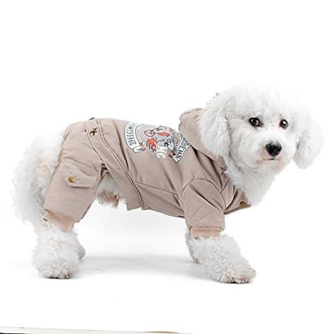 ranphy klein Hund Katze Kalten Wetter Fell Vier Beine Fleece gefüttert Hund Jumpsuit Chihuahua Outfits Winter Yorkie Apparel Hoodie (Fbi-kostüm Für Jungen)