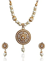 Dancing Girl Bridal Kundans Polki White Metal Alloy Jewellery Sets With Necklace And Earrings For Women