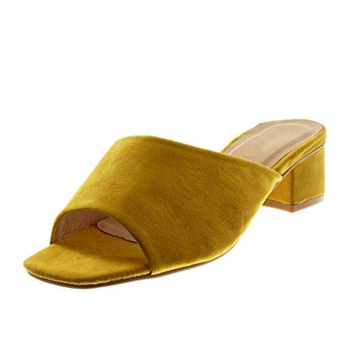 Angkorly Scarpe Moda Sandali Mules Slip-On Donna Tacco a Blocco Alto 5 cm Ingiallimento