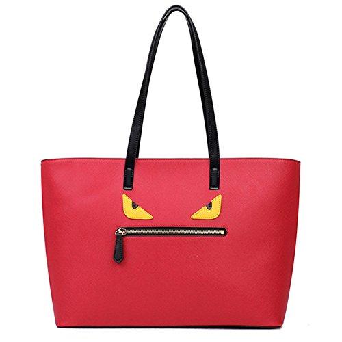 fanhappygo Fashion Retro Leder Damen Monster Kreuzmuster Schulterbeutel Umhängetaschen Abendtaschen Rot