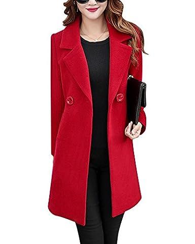 Damen Slim Fit Jacken Langarm Trench Coat Klassische Lange Mantel Rot M