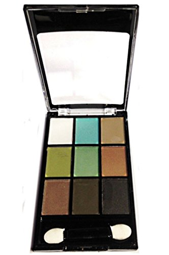 PALETTE DE MAQUILLAGE MATTE DEGRADE VERT MARRON 9 TONS + 1 DOUBLE PINCEAU