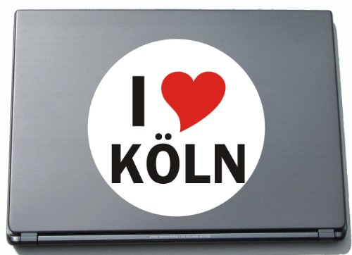 Indigos I Love Aufkleber Decal Sticker Laptopaufkleber Laptopskin 210 mm mit Stadtname KOELN